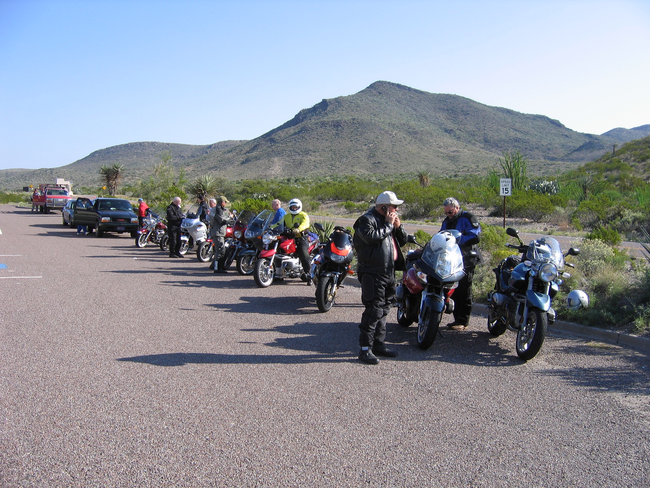 Herd of old bikers at entrance to Big Bend National Park...