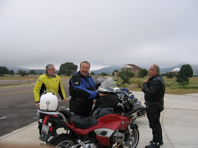 (from left to right) Brian (Acacia) Gurney from Sugar Land, TX, Dean (Dean's BMW) Lear from Show Low, AZ, and Dave Mock from San Antonio, TX - McDonald Observatory outside of Ft. Davis, TX.