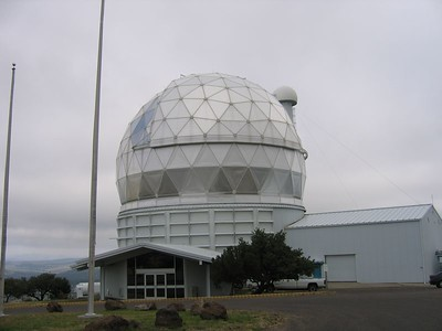 The protective dome over the incredible, multi-faceted 433-inch reflector telescope at the McDonald Observatory.