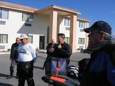 "(from L to R) - Mike Callas (BMW R-1150-RT), Dave Mock (H-D Road King), Ron ""MooseR1100R"" Musfeldt (BMW R-1100-R), Doug Smith (Honda VTR-1000 Superhawk), and Dean Lear (BMW R-1200-ST)."