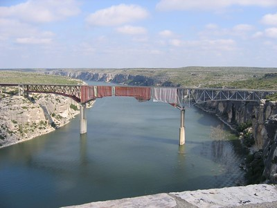 Pecos River Bridge - The highest road bridge in Texas, some 293 feet above the river. This bidge is also over 1,300 feet long. Notice how it got dressed up and wore a short skirt for our visit!