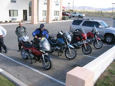 """Interesting evolution of the BMW Boxer... Second from right is an R-1100-R, second from left is the next step - a single-spark R-1150-R, far right is a later twin-spark R-1150-R """"Oilhead"""", and at the far left is the latest - a """"Hexhead"""" R-1200-ST..."""