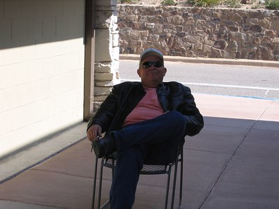 Dave Mock relaxes in the shade at Los Chisos..