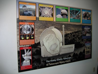 A wall-mount schematic of the layout of the awesome 433-inch Hobby-Eberly telescope.
