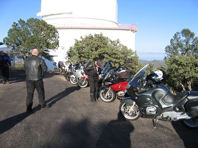 Bikes at McDonald. Doug Smith is trying to figure out why the headlights on a BMW R-1200-ST look the way they do...