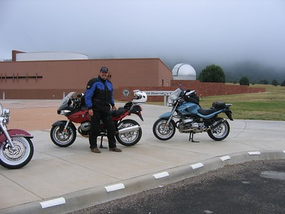 "Dean ""Grandpa Hoon"" Lear standing next to the ""New"" (2006 BMW R-1200-ST) and the ""Old"" (2002 BMW R-1150-R). Even he agrees that sometimes something ""old"" is more beautiful than something ""new""..."