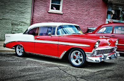 1956 Chevy Bel Air at the classical car show during the Dan Emmett Festival in Mount Vernon, Ohio on August 14, 2011.