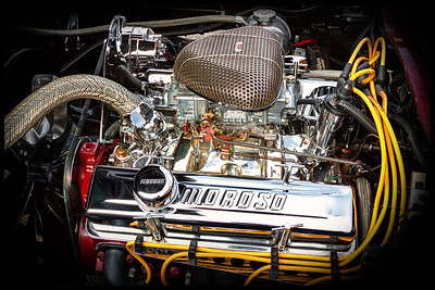 Engine of a 1964 Corvette Stingray from the car show at the Dan Emmett Music and Arts Festival in Mount Vernon, Ohio. Photographed on August 12, 2012.