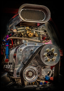 Engine of a 1959 English Ford from the car show at the Dan Emmett Music and Arts Festival in Mount Vernon, Ohio. Photographed on August 12, 2012.