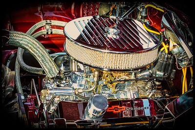 Engine in a 1955 Chevy Nomad from the car show at the Dan Emmett Music and Arts Festival in Mount Vernon, Ohio. Photographed on August 12, 2012.