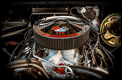 Engine of a 1969 Chevy Chevelle from the car show at the Dan Emmett Music and Arts Festival in Mount Vernon, Ohio. Photographed on August 12, 2012.