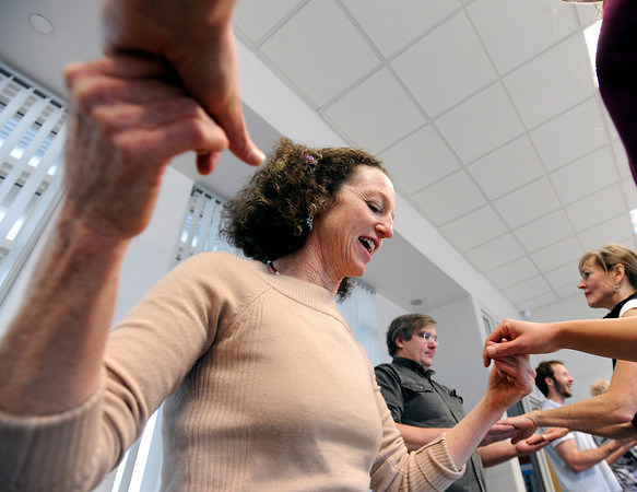 "Dance Instructor Judy Kreith, left, dances with a partner while teaching a swing dancing class on Saturday, Jan. 7, during Dance Days at the East Boulder  Community Center. For more photos and video of the event go to  <a href=""http://www.dailycamera.com"">http://www.dailycamera.com</a><br /> Jeremy Papasso/ Camera"