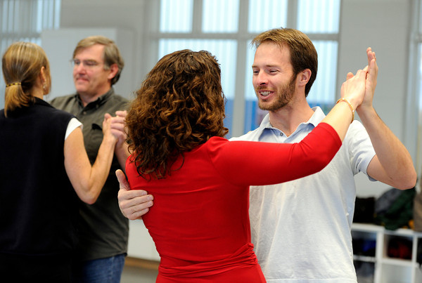 "Will Clift, right, smiles as he dances with Rachel Kleinfeld on Saturday, Jan. 7, during Dance Days at the East Boulder  Community Center. For more photos and video of the event go to  <a href=""http://www.dailycamera.com"">http://www.dailycamera.com</a><br /> Jeremy Papasso/ Camera"
