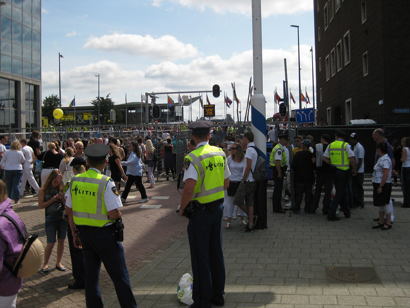 "Parade waiting for the go on the ""Boompjes"" in Rotterdam. Police well prepared"