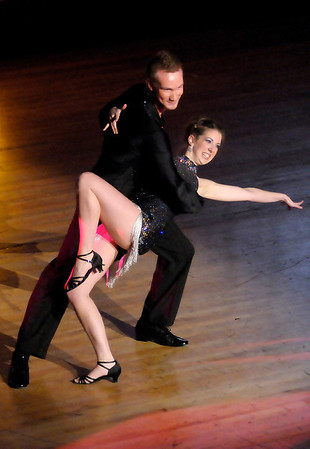 Jessica Sheckelhoff dances the Mambo with Kyle Culmann during the 5th Annual Dancing Like the Stars competition at the Paramount on Saturday.