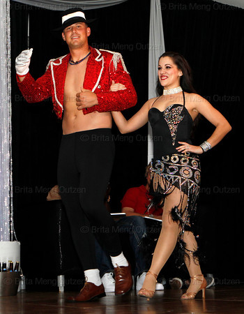 BONITA SPRINGS, FL  March 5, 2011: Boston Red Sox catcher Ryan Lavarnway takes the stage with his dance partner in the Dancing with the New Stars dance contest. (Brita Meng Outzen/Boston Red Sox)