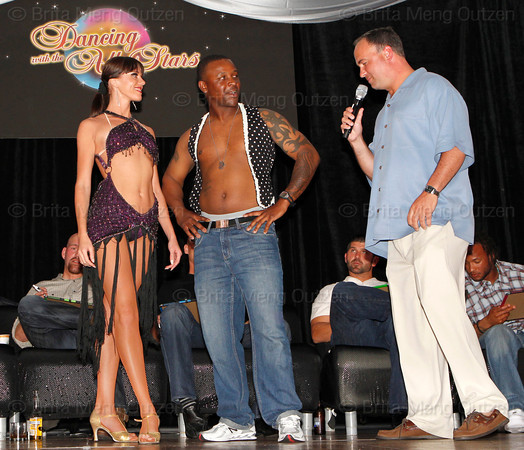 BONITA SPRINGS, FL  March 5, 2011: Emcee Don Orsillo, right, introduces Boston Red Sox pitcher Jason Rice, center, and his partner before their dance routine. (Brita Meng Outzen/Boston Red Sox)