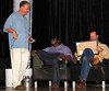 BONITA SPRINGS, FL  March 5, 2011: Boston Red Sox designated hitter David Ortiz, center, laughs as emcee Don Orsillo talks with him about pitcher Jason Rice's performance while pitcher Tim Wakefield prepares to score Rice. (Brita Meng Outzen/Boston Red Sox)