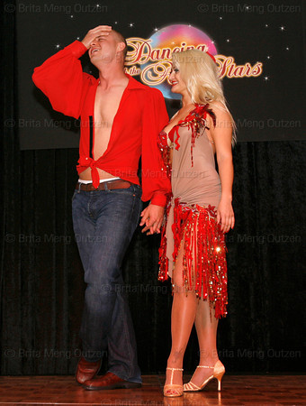 """BONITA SPRINGS, FL, March 6, 2010: Boston Red Sox pitcher Michael Bowden reacts as teammates score his and his partner's performance in the """"Dancing with the New Stars"""" dance contest. (Brita Meng Outzen/Boston Red Sox)"""