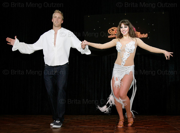 """BONITA SPRINGS, FL, March 6, 2010: Boston Red Sox first baseman Lars Anderson and his partner perform in the """"Dancing with the New Stars"""" dance contest. (Brita Meng Outzen/Boston Red Sox)"""