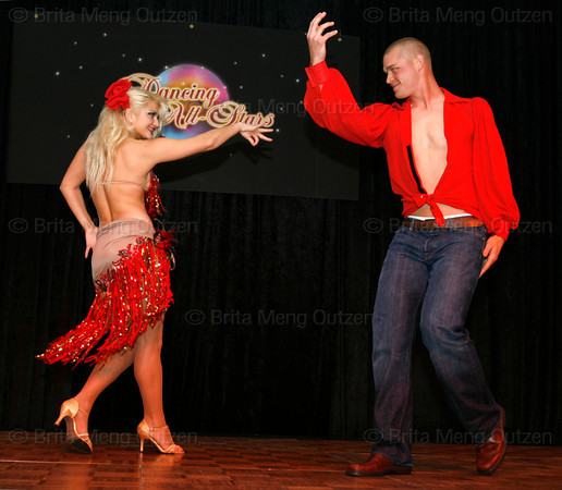 "BONITA SPRINGS, FL, March 6, 2010: Boston Red Sox pitcher Michael Bowden and his partner perform in the ""Dancing with the New Stars"" dance contest. (Brita Meng Outzen/Boston Red Sox)"