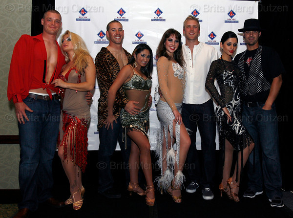 "BONITA SPRINGS, FL, March 6, 2010: From left, Boston Red Sox players Michael Bowden, Ryan Kalish, Lars Anderson and Mark Wagner and their partners pose before taking the stage at the ""Dancing with the New Stars"" charity dance contest. (Brita Meng Outzen/Boston Red Sox)"