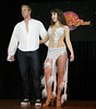 "BONITA SPRINGS, FL, March 6, 2010: Boston Red Sox first baseman Lars Anderson and his partner react as teammates score their performance in the ""Dancing with the New Stars"" dance contest. (Brita Meng Outzen/Boston Red Sox)"