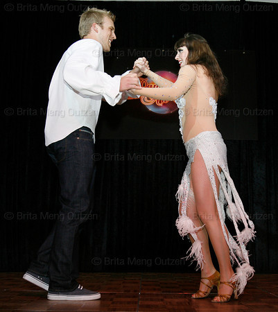 "BONITA SPRINGS, FL, March 6, 2010: Boston Red Sox first baseman Lars Anderson and his partner perform in the ""Dancing with the New Stars"" dance contest. (Brita Meng Outzen/Boston Red Sox)"