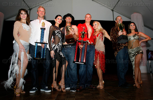 """BONITA SPRINGS, FL, March 6, 2010: From left, Boston Red Sox players Lars Anderson, Mark Wagner, Michael Bowden and Ryan Kalish and their partners pose with their trophies following the """"Dancing with the New Stars"""" charity dance contest. (Brita Meng Outzen/Boston Red Sox)"""
