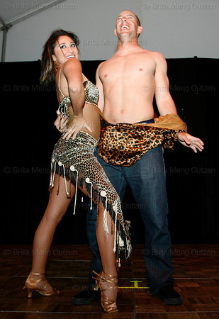 """BONITA SPRINGS, FL, March 6, 2010: Boston Red Sox outfielder Ryan Kalish reacts as he and his partner finish their performance in the """"Dancing with the New Stars"""" dance contest. (Brita Meng Outzen/Boston Red Sox)"""