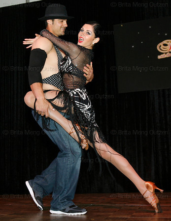 """BONITA SPRINGS, FL, March 6, 2010: Boston Red Sox catcher Mark Wagner and his partner perform in the """"Dancing with the New Stars"""" dance contest. (Brita Meng Outzen/Boston Red Sox)"""