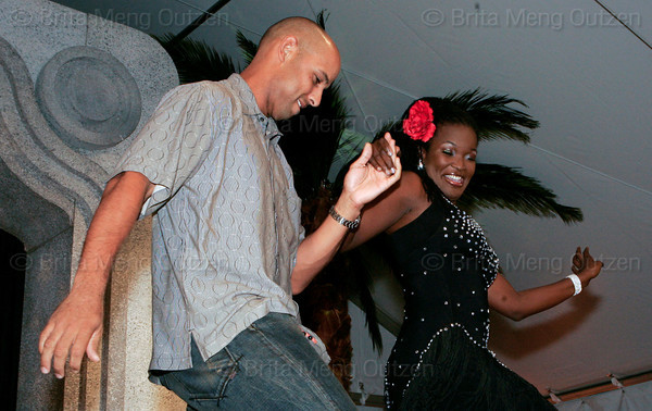 """BONITA SPRINGS, FL, March 1, 2008: Boston Red Sox infielder Alex Cora and his dance partner perform their routine during the """"Dancing with the All-Stars"""" dance contest to benefit the Mike Lowell Foundation and the Red Sox Foundation. (Brita Meng Outzen/Boston Red Sox)"""