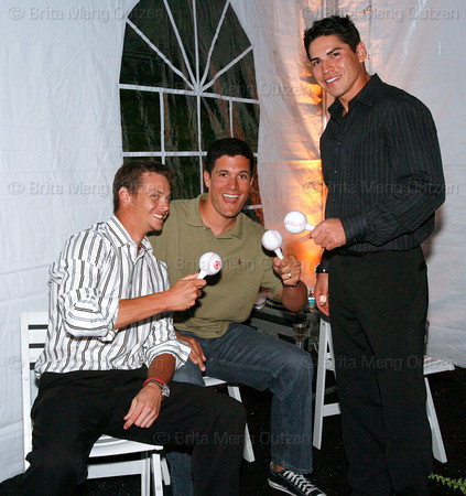 "BONITA SPRINGS, FL, March 1, 2008: From left, Boston Red Sox pitcher Clay Buchholz, pitcher Javier Lopez and center fielder Jacoby Ellsbury get ready to judge teammates Mike Lowell, Dustin Pedroia, Jonathan Papelbon and Alex Cora during the ""Dancing with the All-Stars"" dance competition to benefit the Mike Lowell Foundation and the Red Sox Foundation. (Brita Meng Outzen/Boston Red Sox)"