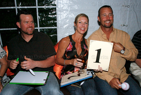 """BONITA SPRINGS, FL, March 1, 2008: Boston Red Sox first baseman Sean Casey, left, and Red Sox pitcher Tim Wakefield, right, and wife Stacy are ready to judge teammates Mike Lowell, Dustin Pedroia, Jonathan Papelbon and Alex Cora during the """"Dancing with the All-Stars"""" dance competition to benefit the Mike Lowell Foundation and the Red Sox Foundation. (Brita Meng Outzen/Boston Red Sox)"""