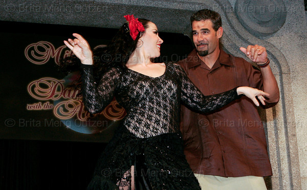 "BONITA SPRINGS, FL, March 1, 2008: Boston Red Sox third baseman Mike Lowell and his dance partner perform their routine during the ""Dancing with the All-Stars"" dance contest to benefit the Mike Lowell Foundation and the Red Sox Foundation. (Brita Meng Outzen/Boston Red Sox)"