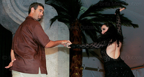 """BONITA SPRINGS, FL, March 1, 2008: Boston Red Sox third baseman Mike Lowell and his dance partner perform their routine during the """"Dancing with the All-Stars"""" dance contest to benefit the Mike Lowell Foundation and the Red Sox Foundation. (Brita Meng Outzen/Boston Red Sox)"""