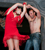 "BONITA SPRINGS, FL, March 1, 2008: Boston Red Sox second baseman Dustin Pedroia and his dance partner perform their routine during the ""Dancing with the All-Stars"" dance contest to benefit the Mike Lowell Foundation and the Red Sox Foundation. (Brita Meng Outzen/Boston Red Sox)"