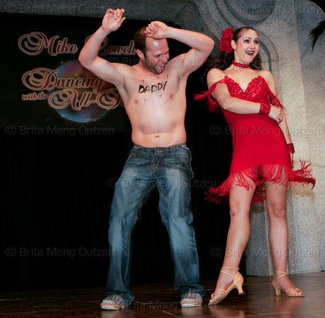 """BONITA SPRINGS, FL, March 1, 2008: Boston Red Sox second baseman Dustin Pedroia and his dance partner perform their routine during the """"Dancing with the All-Stars"""" dance contest to benefit the Mike Lowell Foundation and the Red Sox Foundation. (Brita Meng Outzen/Boston Red Sox)"""
