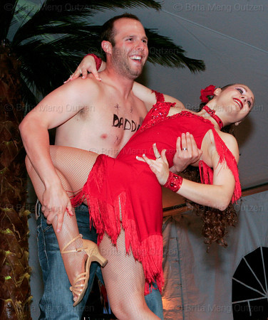 """BONITA SPRINGS, FL, March 1, 2008: Boston Red Sox second baseman Dustin Pedroia and his dance partner strike a finishing pose at the end of their routine during the """"Dancing with the All-Stars"""" dance contest to benefit the Mike Lowell Foundation and the Red Sox Foundation. (Brita Meng Outzen/Boston Red Sox)"""