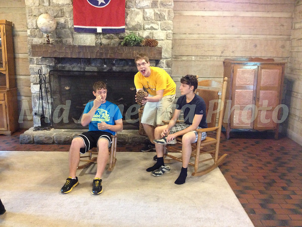 At the rest stop in Tennessee. The boys thought the buses should have rocking chairs.