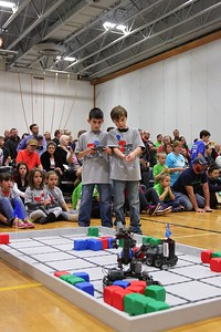 Carson Spurlock (left) drives while Hayden King (right) gives instructions during the competition.