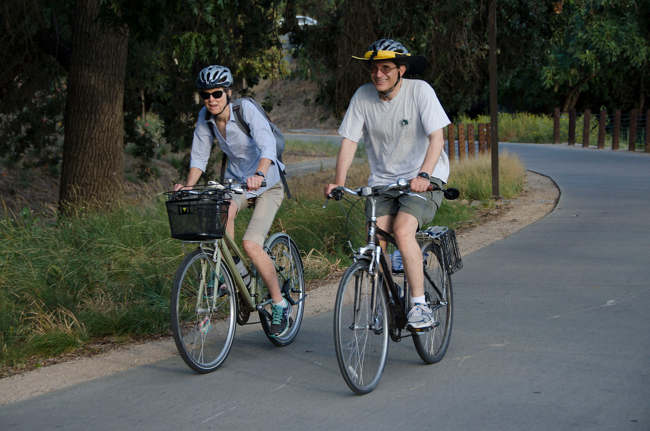 Along the South Davis greenbelt (Christal Waters, Anthony Palmere of Davis Bicycles!)