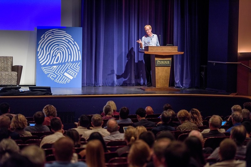 Quentin Hardy, head editor at Google, speaks during the first day of the Dawn or Doom conference in Fowler Hall. (Purdue University Photo/Alex Kumar)