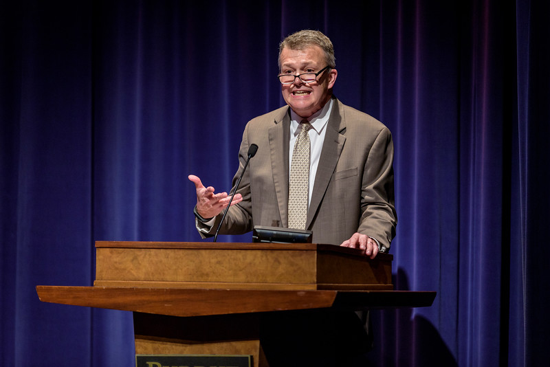 Jay Akridge, Interim Provost and Executive Vice President for Academic Affairs and Diversity, speaks on the first day of the Dawn Or Doom conference in Fowler Hall. (Purdue University Photo/Alex Kumar)
