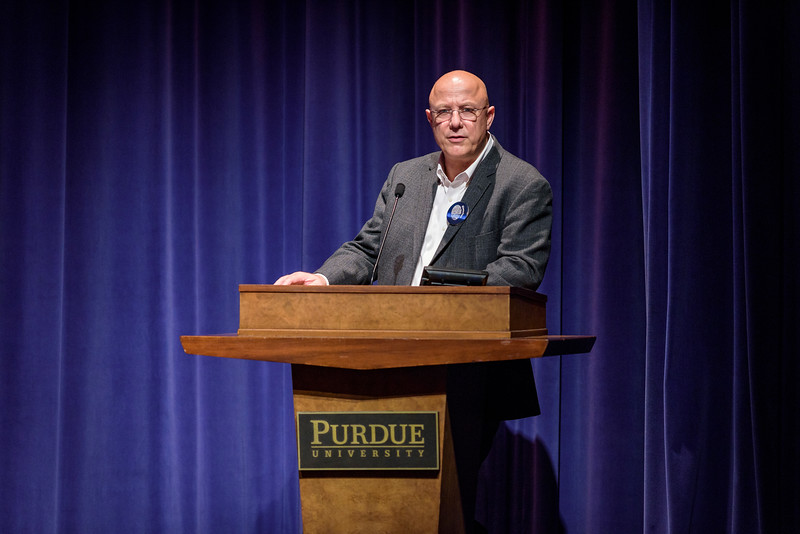 Purdue Chief Information Officer Gerry McCartney introduces Google Head Editor Quentin Hardy during the first day of the Dawn or Doom conference in Fowler Hall. (Purdue University Photo/Alex Kumar)