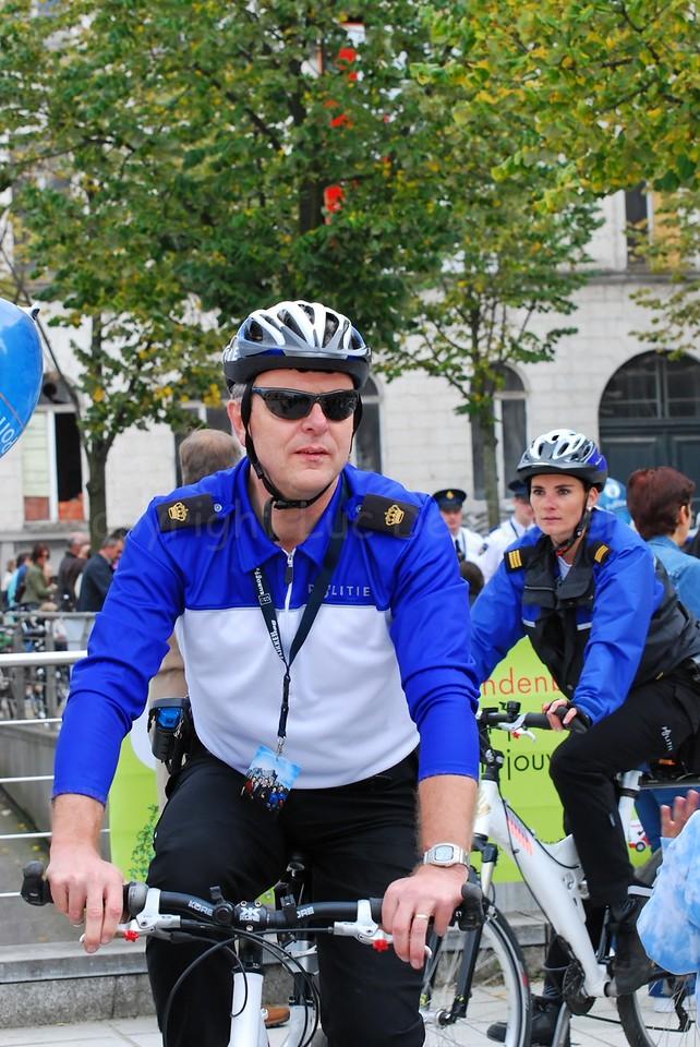 An inspector (inspecteur) of a police bike team from the Netherlands.