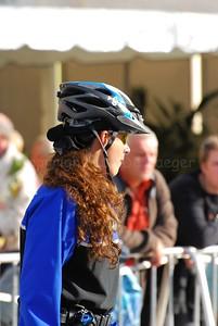 A female police officer of a Dutch bike team.