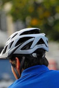 The bike helmet used by a police bike team from Belgium.