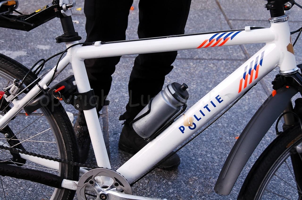 A mountain bike (MTB) of a Dutch police bike team.
