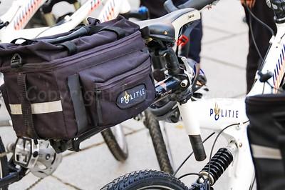 The bag on a police mountain bike (MTB).